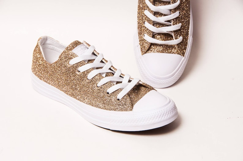 c58d53bd5d02 Champagne Gold Glitter Converse® On White Monochrome Low Top
