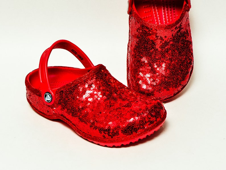 6070e3b67 Tiny Sequin Starlight Red Cayman Slip On Crocs Clogs Casual