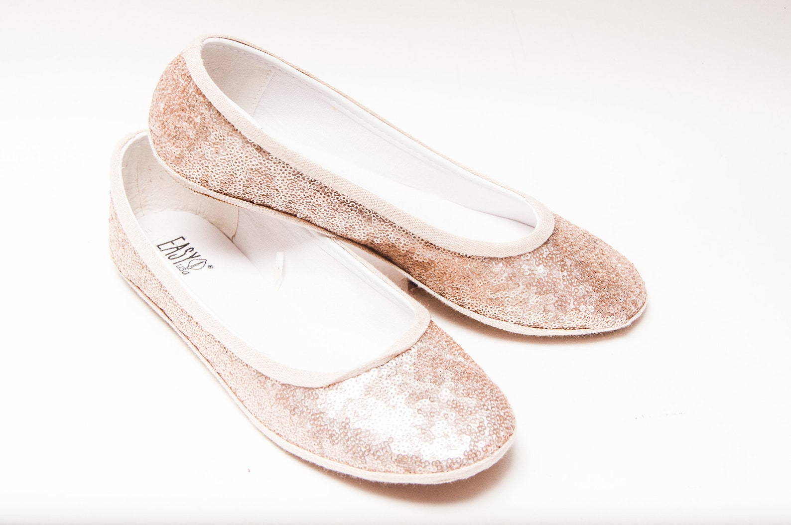 ready 2 ship - size 11 sequin starlight champagne gold ballet flat slipper custom shoes