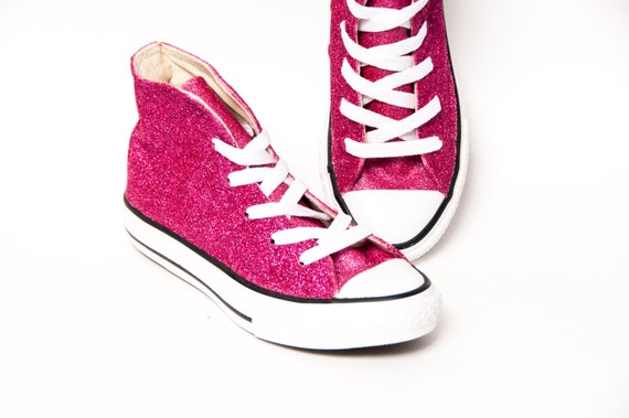 f94b5d663073 Youth Glitter Hot Fucshia Pink Converse® Canvas Hi Tops