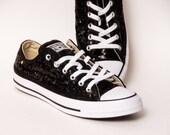 Black Starlight Sequin Converse Low Top Sneakers