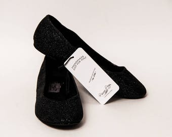 Ready 2 Ship - Size 8 Obsidian Black Ballet Flats Slippers Shoes