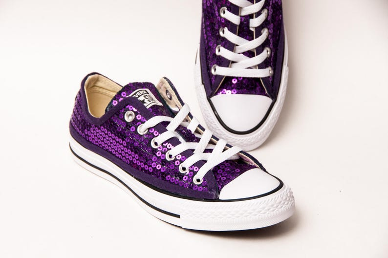 cb1ec741538596 Purple Sequin Canvas Converse® Low Top Sneakers