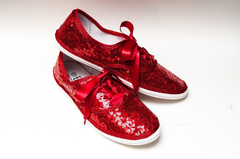 ac561716ea6 Bridal Favorite Red Starlight Sequin Canvas Sneakers