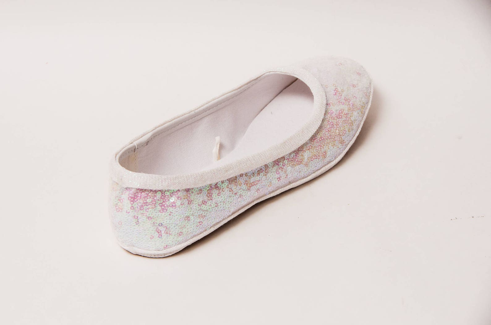 sequin - crystal iridescent iris white ballet flat slipper custom shoes