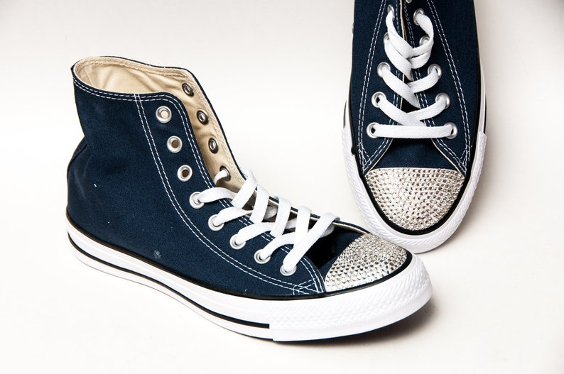 f78a7701760a15 Rhinestone Toes Navy Converse® Hi Tops Sneakers Shoes with
