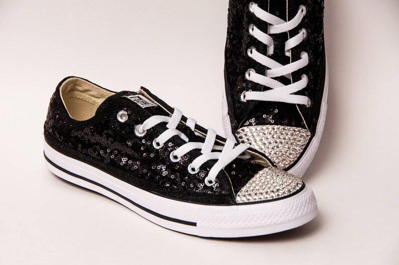 b6a038235f5f16 Tiny Sequin Starlight Converse® Black Canvas Low Top