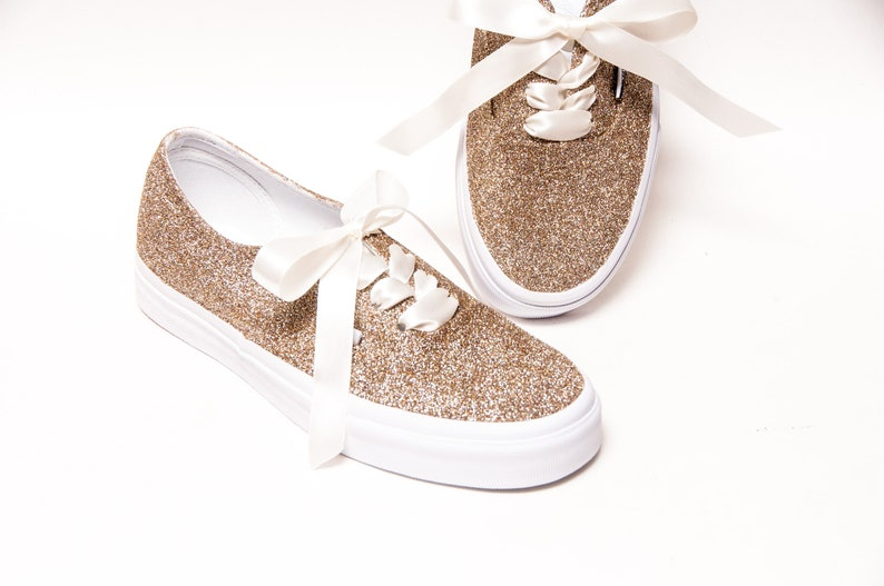 b71327e48adb Champagne Glitter Vans Authentic Sneakers