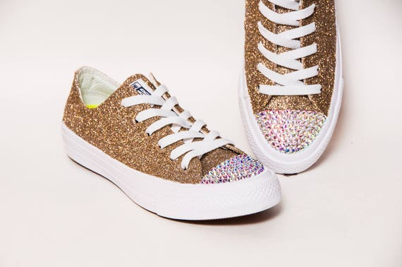 aaa52c2de51599 Glitter Champagne Gold on White Converse® Monochrome Low Top