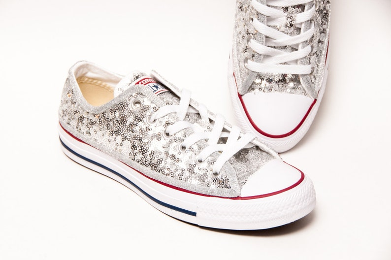 7af346a52ca8 Silver Starlight Sequin Converse® All Star Low Tops