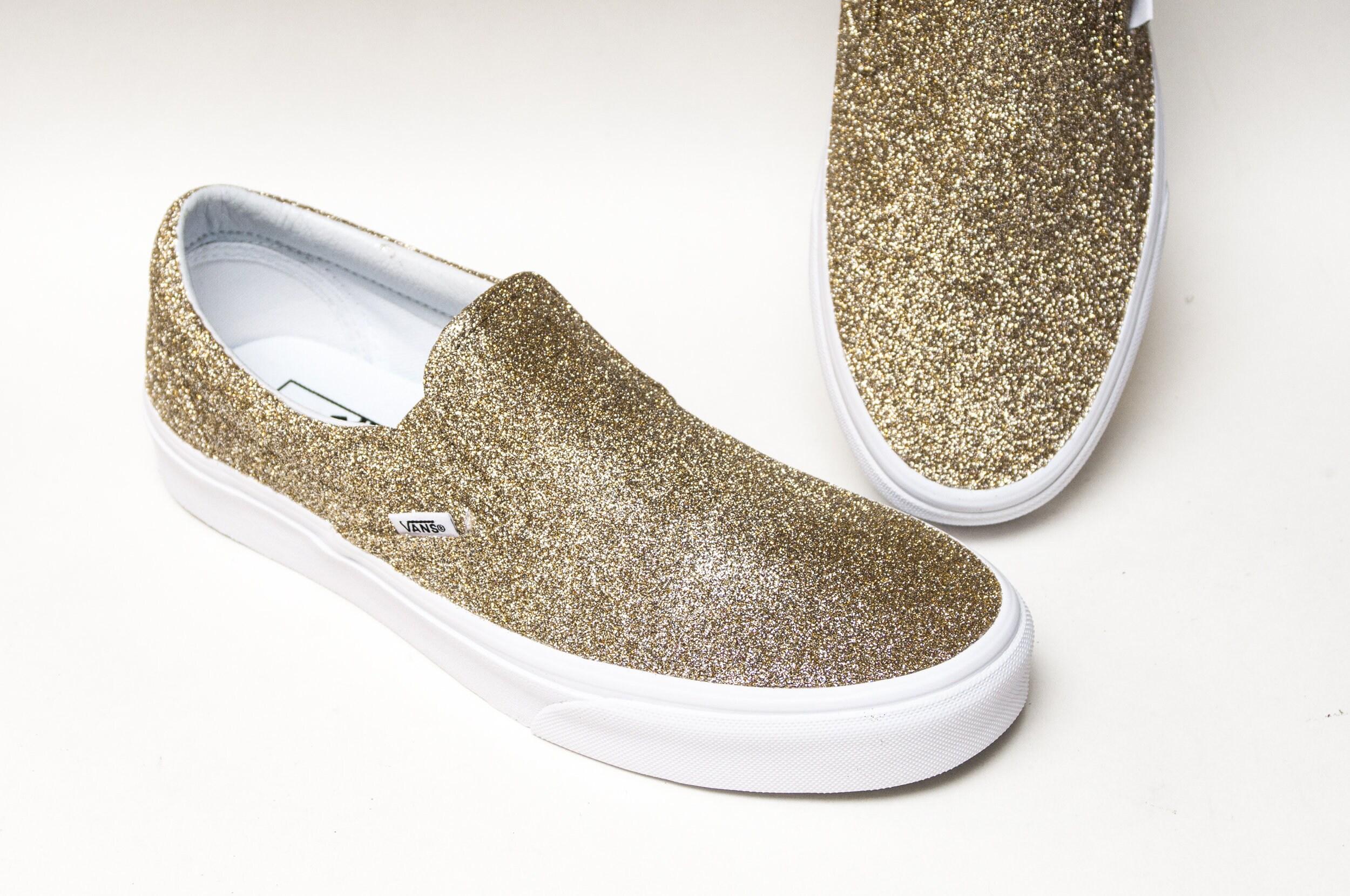 2fe6ed42464424 Champagne Gold Glitter Vans Slip On Classic Sneakers