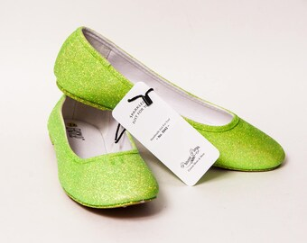 Ready 2 Ship - Size 11 Glitter Lime Green Ballet Flats Slippers Shoes