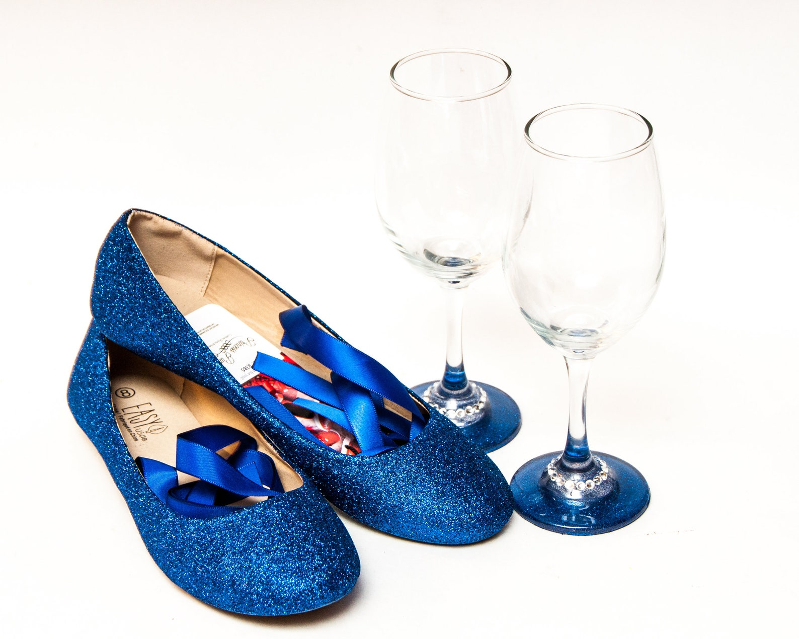 bridal - perfect party pack glitter royal blue ballet flats shoes with matching his and her wine glasses