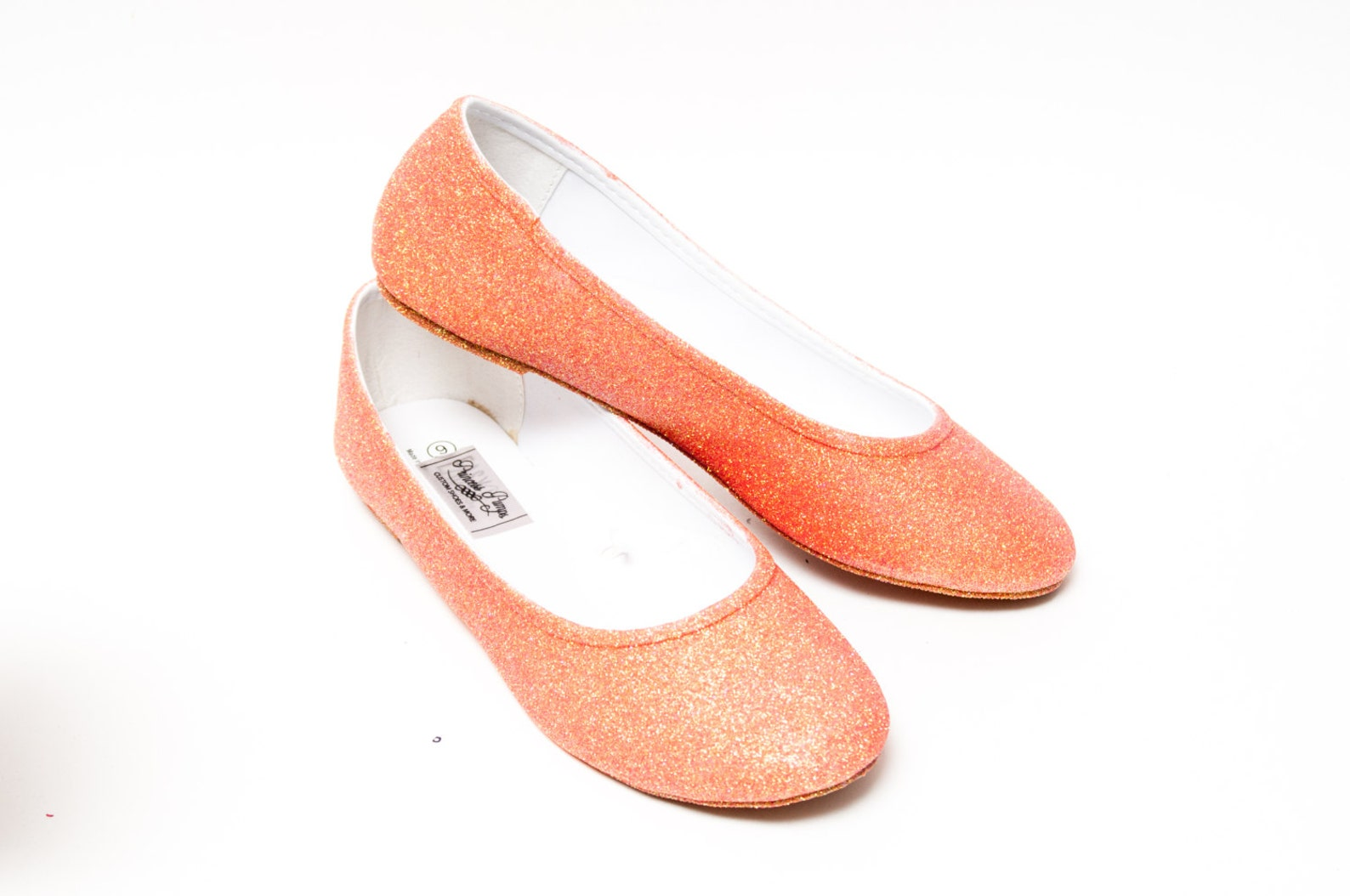 glitter | princess pumps melon orange ballet flat casual shoes