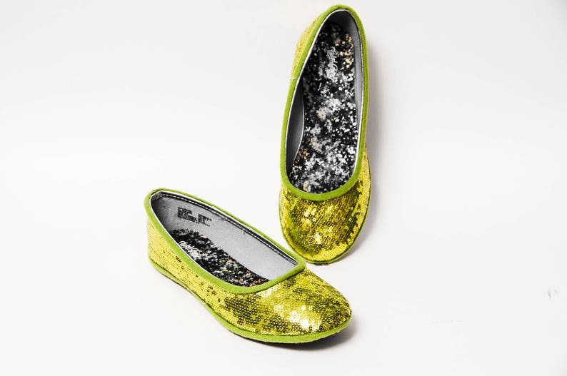 0c3ef6d9c1e Tiny Sequin Lime Green Ballet Flats Dress Shoes for Your