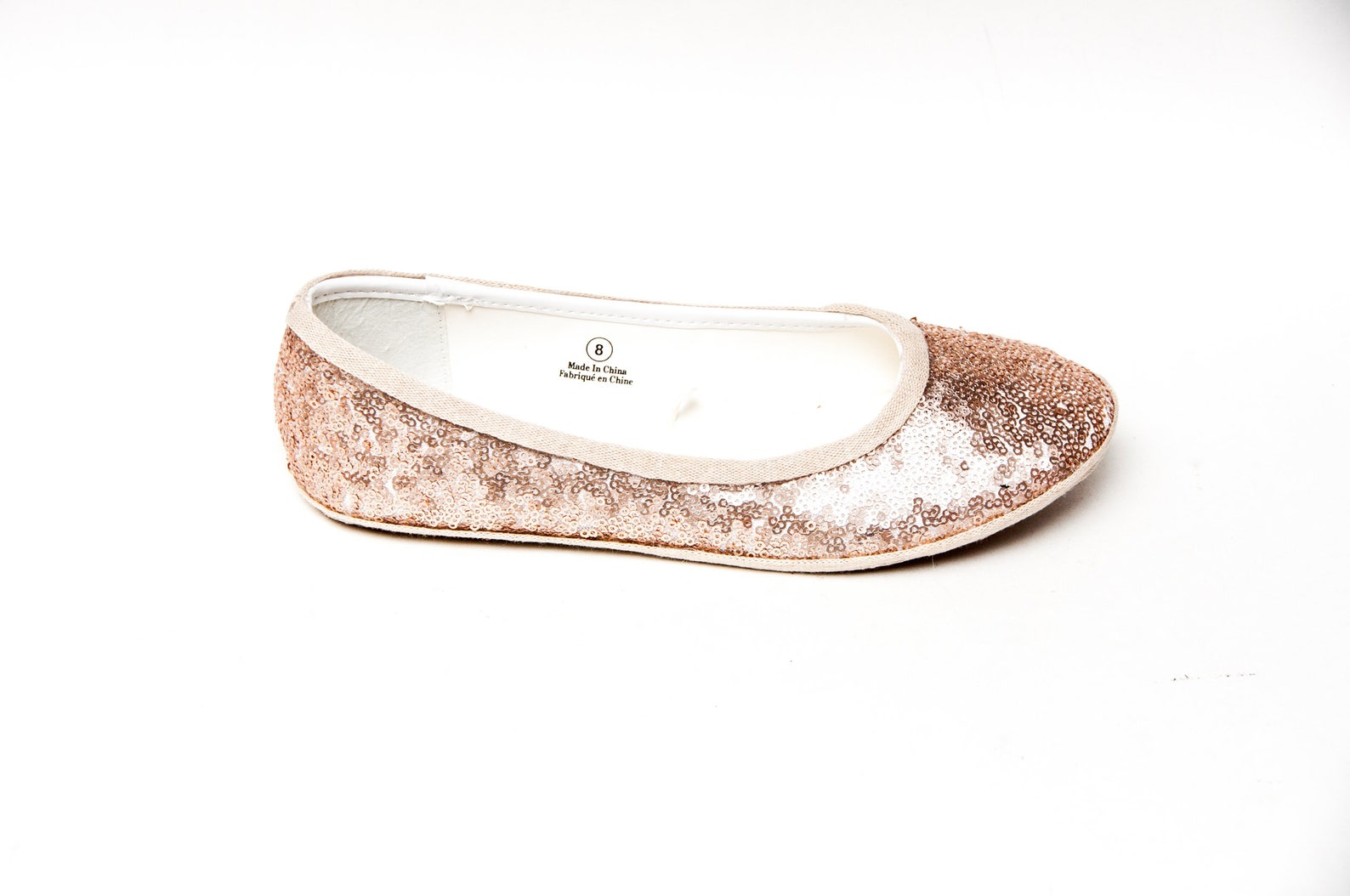 sequin - champagne light gold sparkly sequin ballet flats shoes