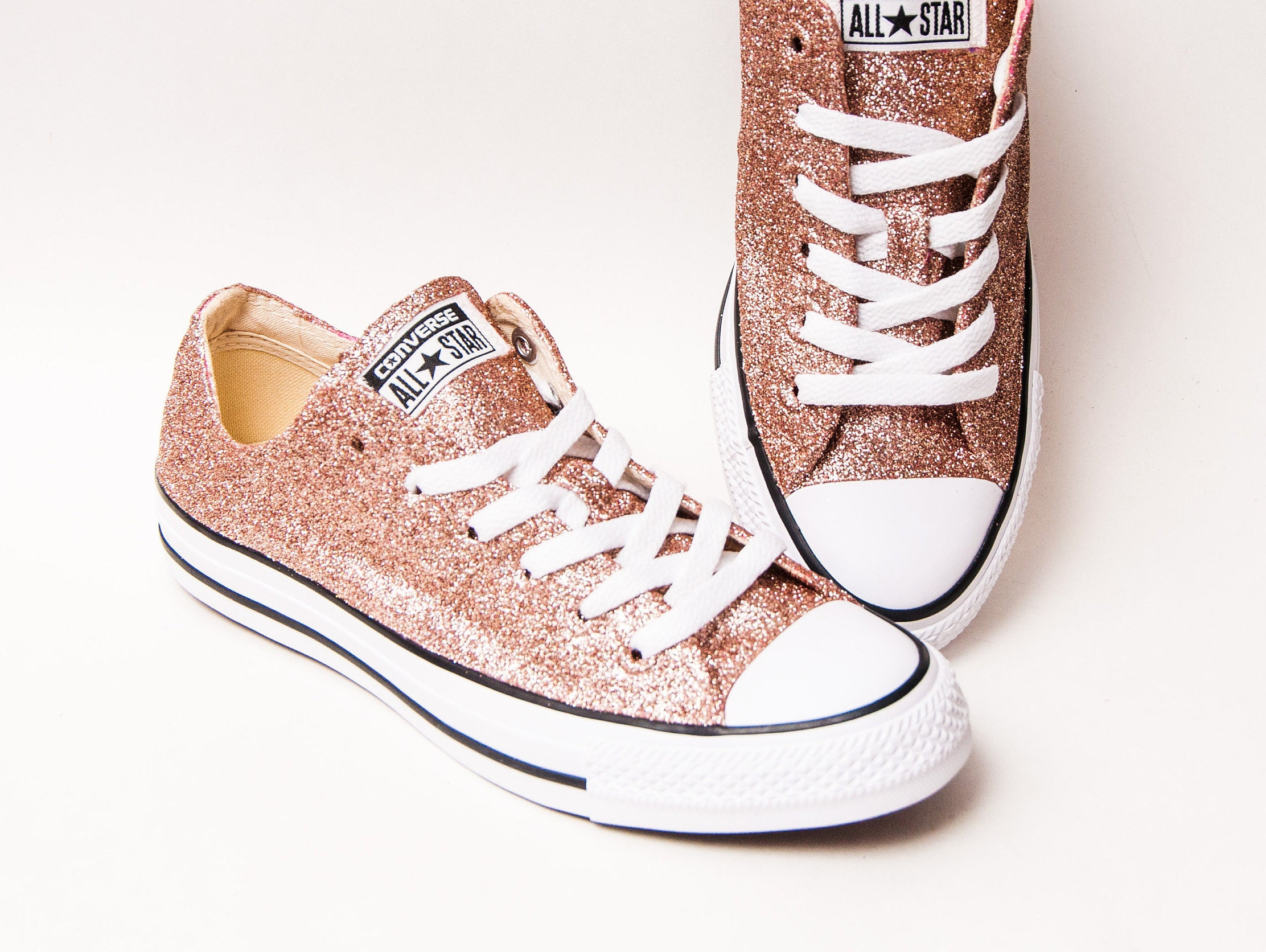 89961facd2dc Rose Gold Glitter Converse® All Star Low Top Sneakers | Etsy