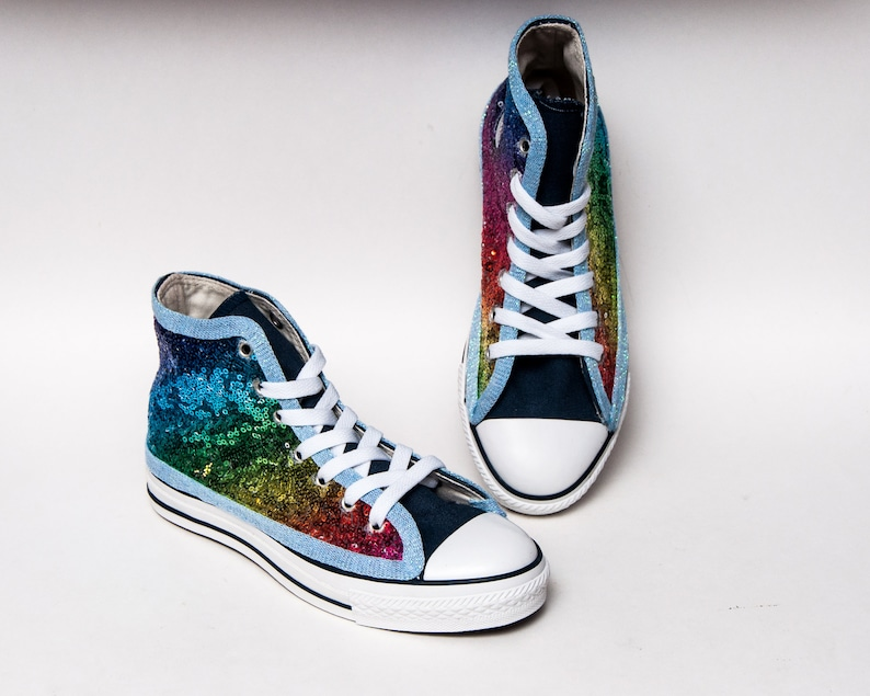bfd9bd77d4e5 Kids Youth Sequin Rainbow Over Navy Converse® Canvas Hi