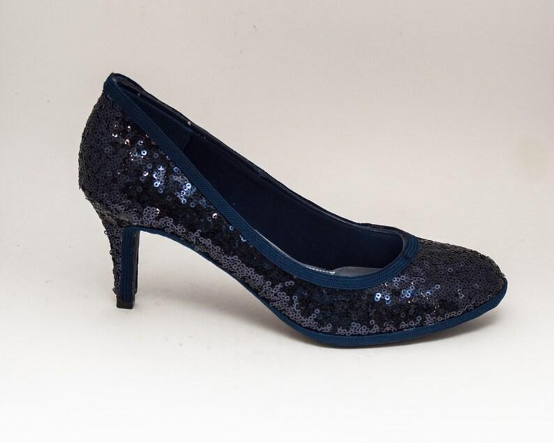 cfb1b8bc85551 Tiny Sequin   Navy Blue 3 Inch High Heels Pumps Dress Shoes