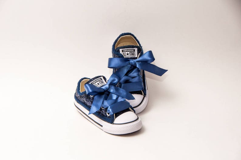 b79795776c73 Toddler Tiny Sequin Navy Blue Converse® Customized Canvas