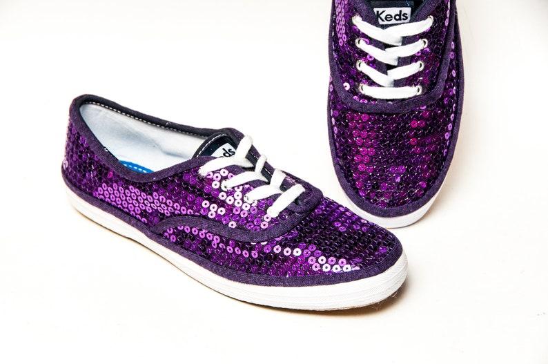 2d55d1e2ab6 Purple Sequin Keds® Canvas Sneakers