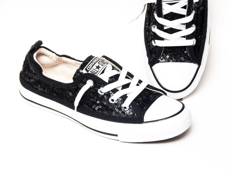 25883308d790 Tiny Sequin Starlight Black Sparkly Canvas Shoreline