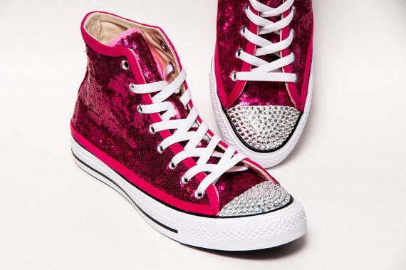 ac2a2998ae59 Tiny Sequin - Starlight Hot Fuchsia Pink Converse® Canvas Hi Top Sneakers  Shoes with Rhinestoned Toes