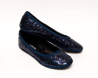 Ready to Ship - Size 10 Tiny Sequin Custom Navy Blue Ballet Flats Slippers Shoes