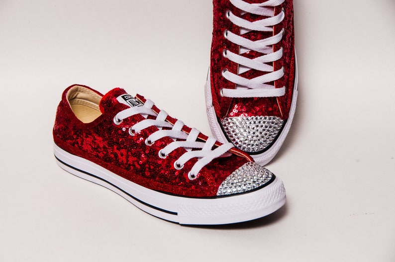 7a16705ea5b0 Bridal - Tiny Sequin - Starlight Red Canvas Custom Customized Converse® Low  Top Sneakers Tennis Shoes with Crystal Rhinestone Toes