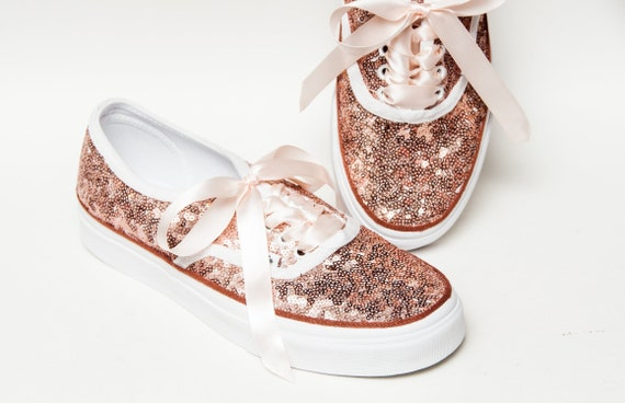 Bridal Favorite! Rose Gold Starlight Sequin Authentic Vans Sneakers