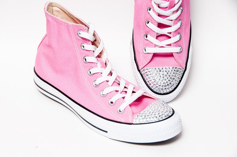 e81170a210d96e Rhinestone Toes Pink Converse® Hi Tops Sneakers Shoes with