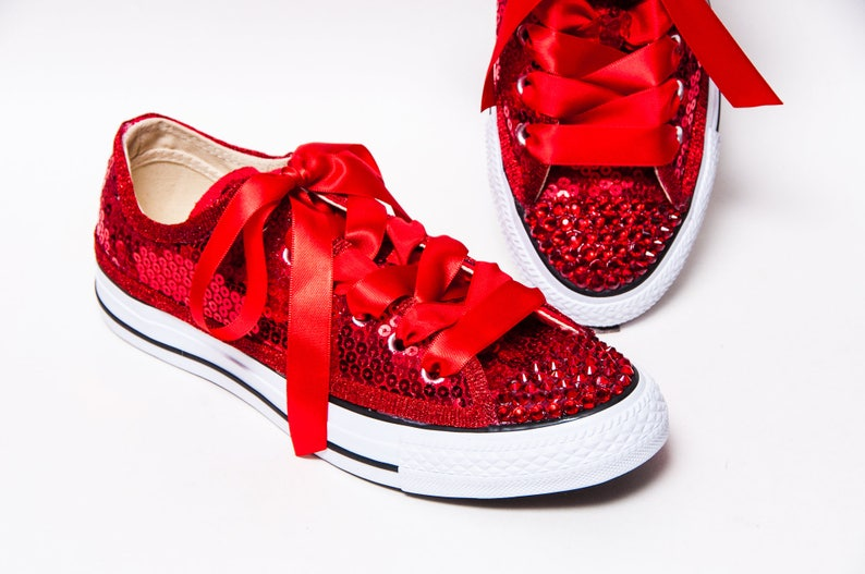 3a59ea42afc327 Sequin Red Canvas Converse® Low Top Sneakers Tennis Shoes