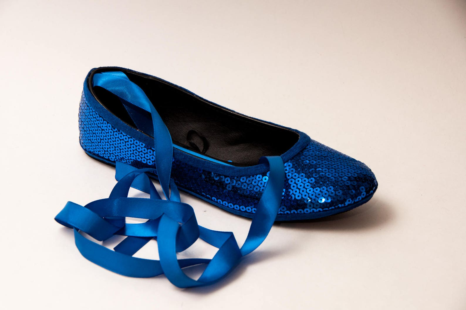bridal - sequin sapphire blue ballet flats slippers shoes with matching ribbons