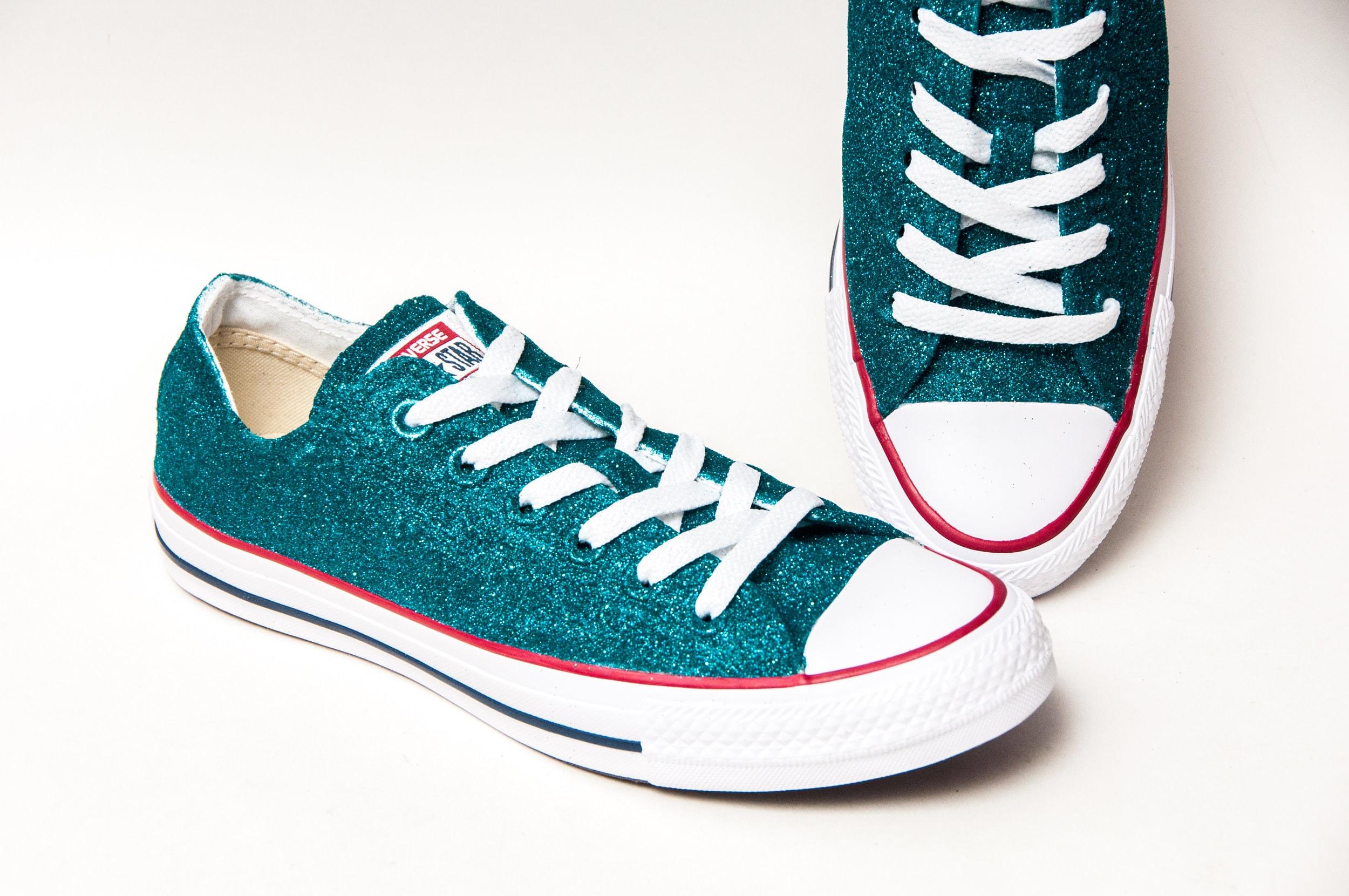 Paillettes - bleu Tropical toile All Converse® Baskets basses All toile Star Chaussures de princesse pompes d5cc2d