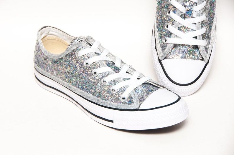 40ac1ae9fc935c Brilliant Silver Starlight Sequin Hologram Converse® Low Top