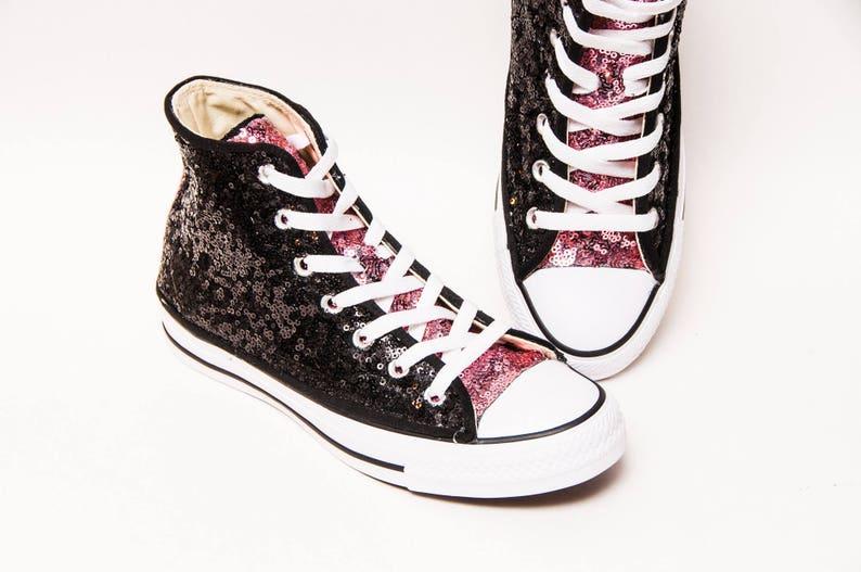 59844f23c8f7 Two Tone Starlight Sequin Black   Pink Hi Top Converse®