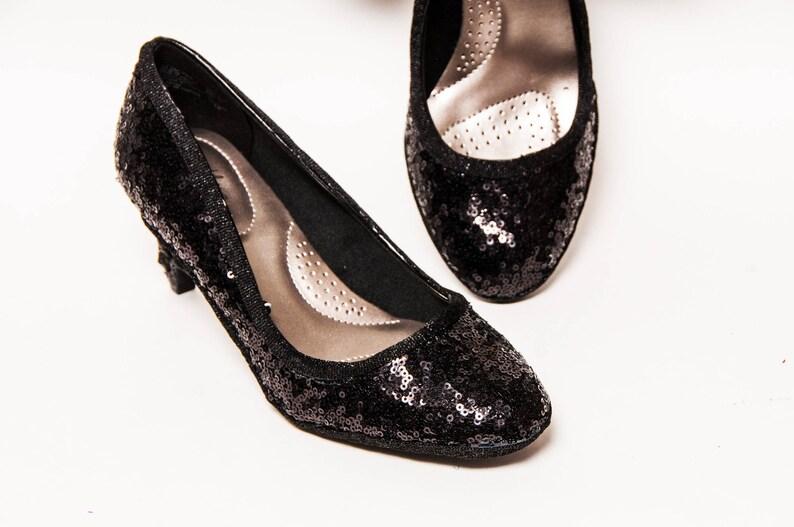 a2bc1b7628c33 Tiny Sequin - Starlight 3 Inch High Heels Black Pumps by Princess Pumps
