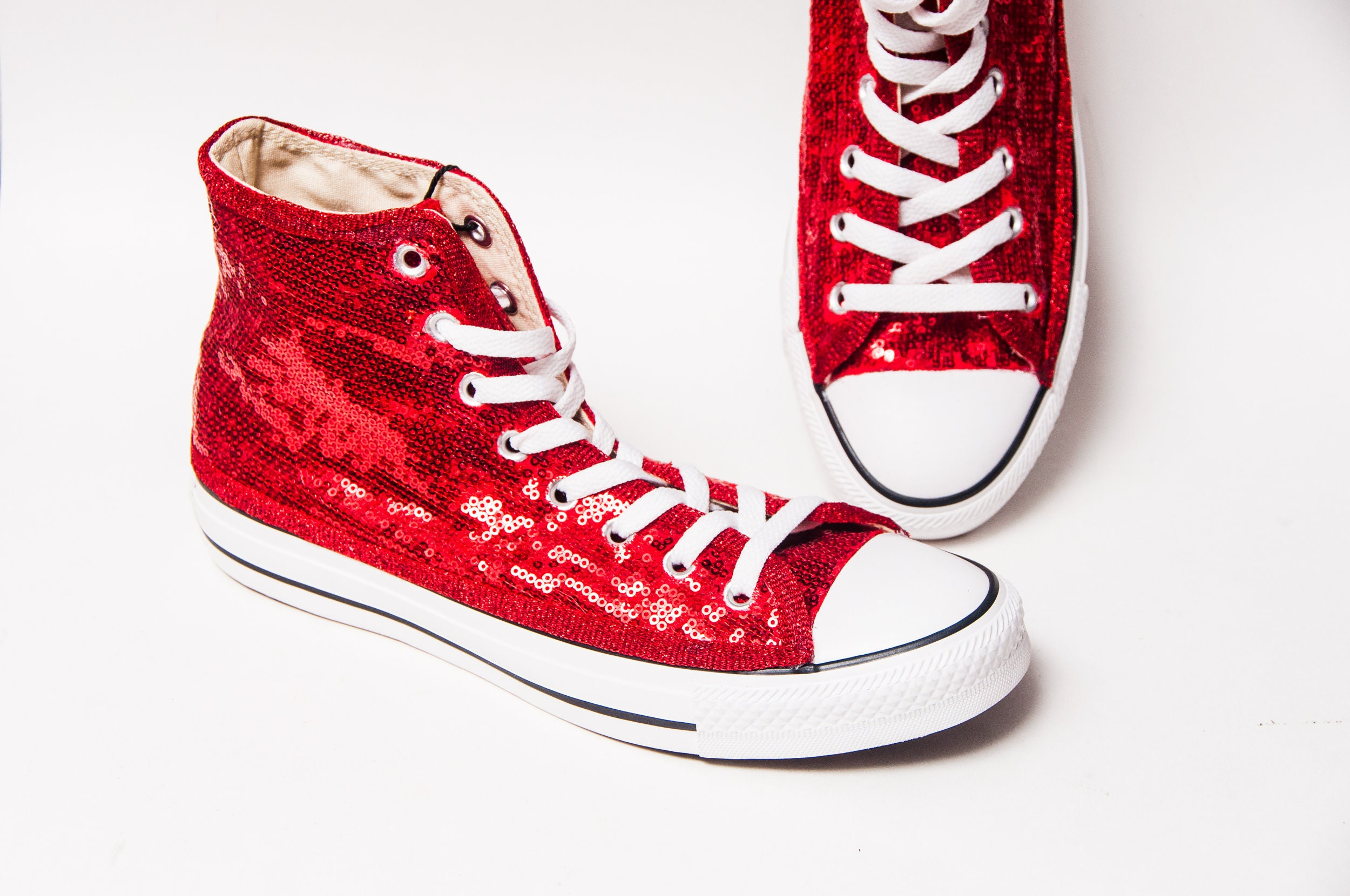 Sequin Hand Sparkled Red Canvas Converse Hi Top Sneakers