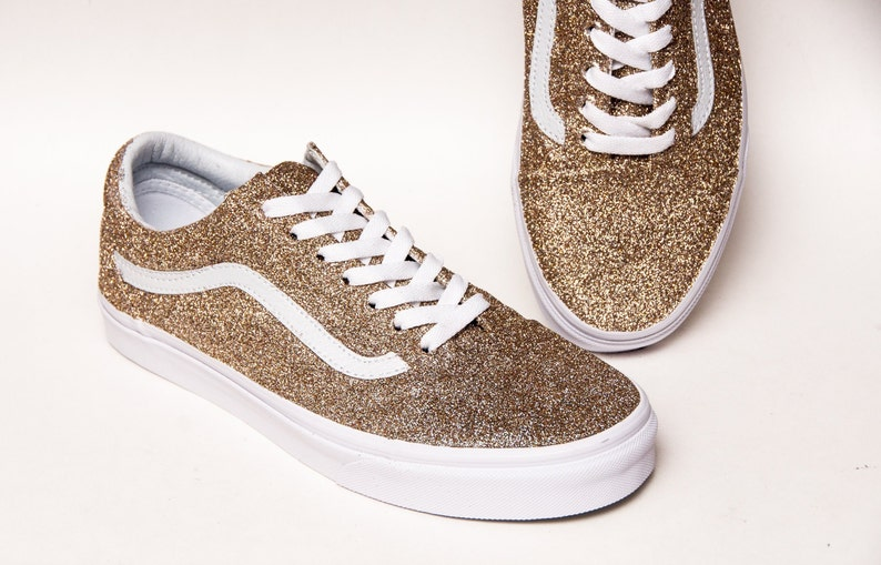 Details about VANS Old Skool Chunky Glitter Shoes Champagne GOLD Size 9.5