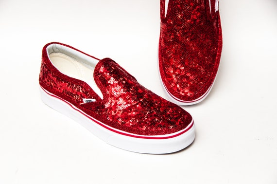 Red Starlight Sequin Vans Classic Slip Ons Sneakers  4ad066f61