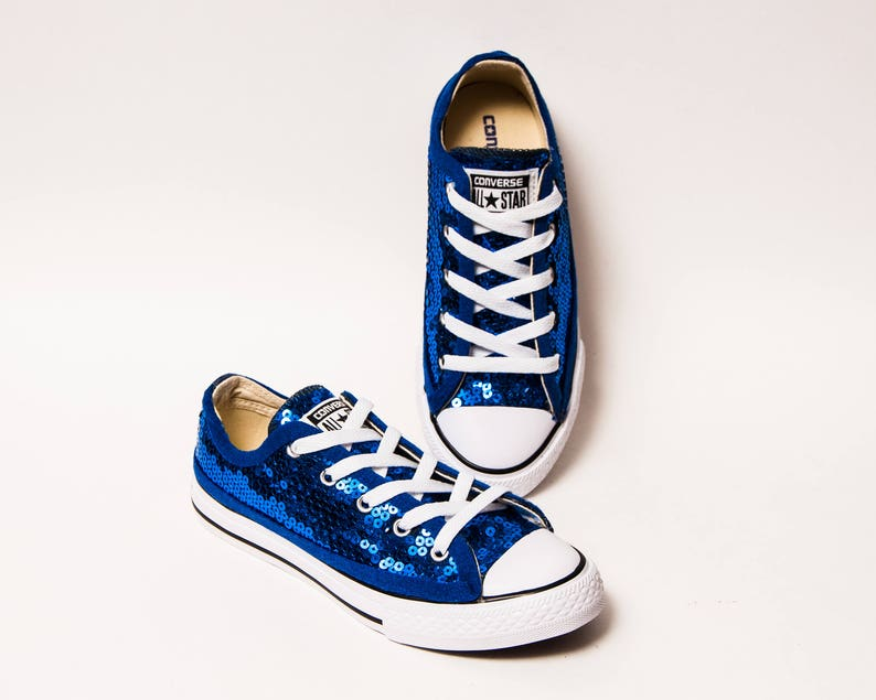 1816573bede1 Sequin Youth Kids Sapphire Blue Converse® Canvas Low Tops