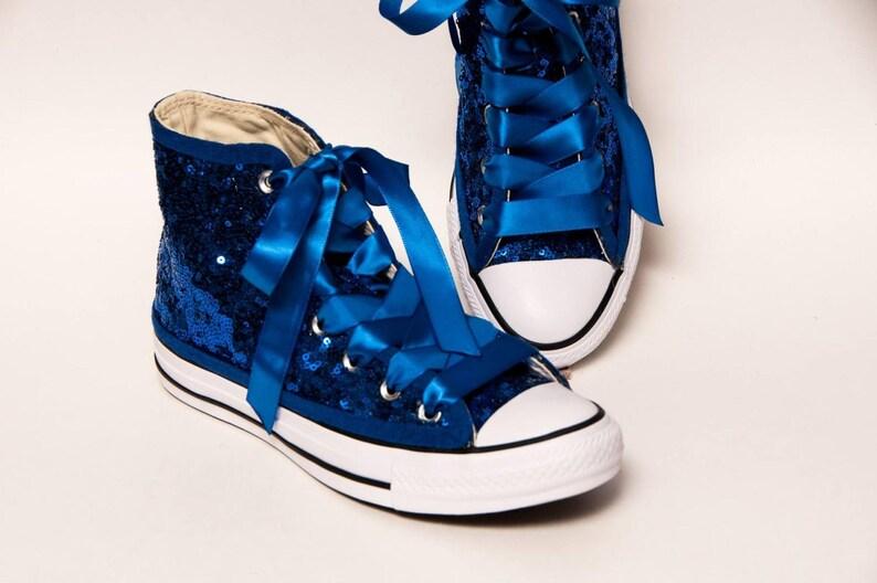 3cde9af42426 Bridal Favorite Sapphire Blue Starlight Sequin Canvas Hi Top