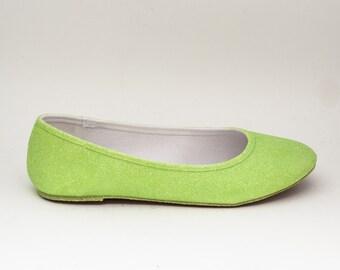 Glitter | Kiwi Green Ballet Flats Slippers Custom Shoes