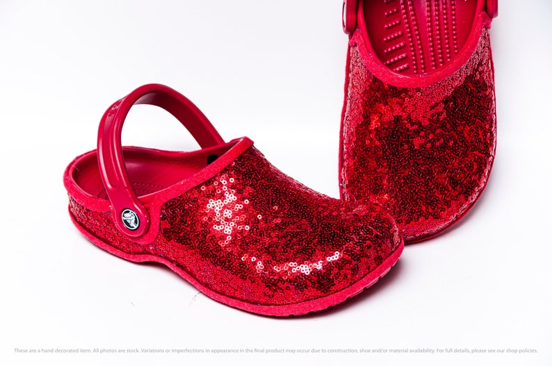 Red Starlight Sequin Slip On Crocs Clogs image 1