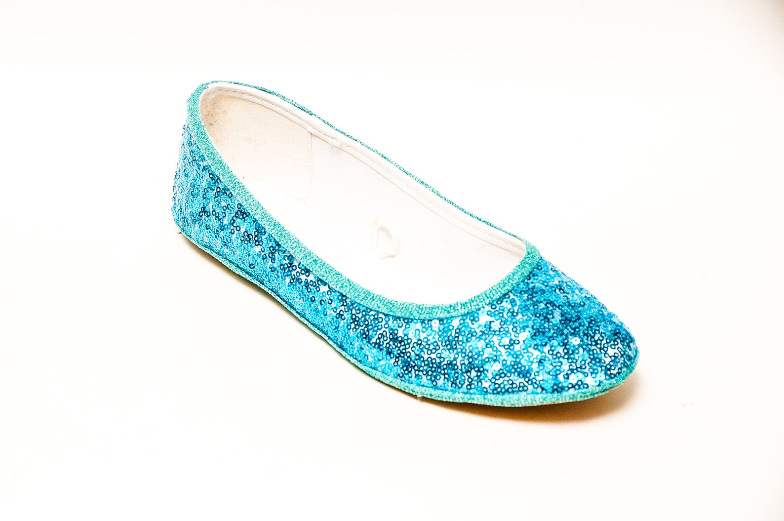tiny sequin - starlight malibu blue ballet slipper flats shoes