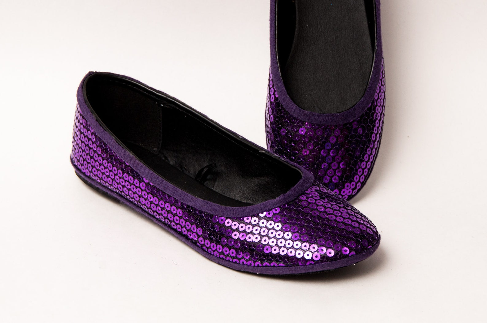 sequin - plum purple slipper ballet flats shoes by princess pumps