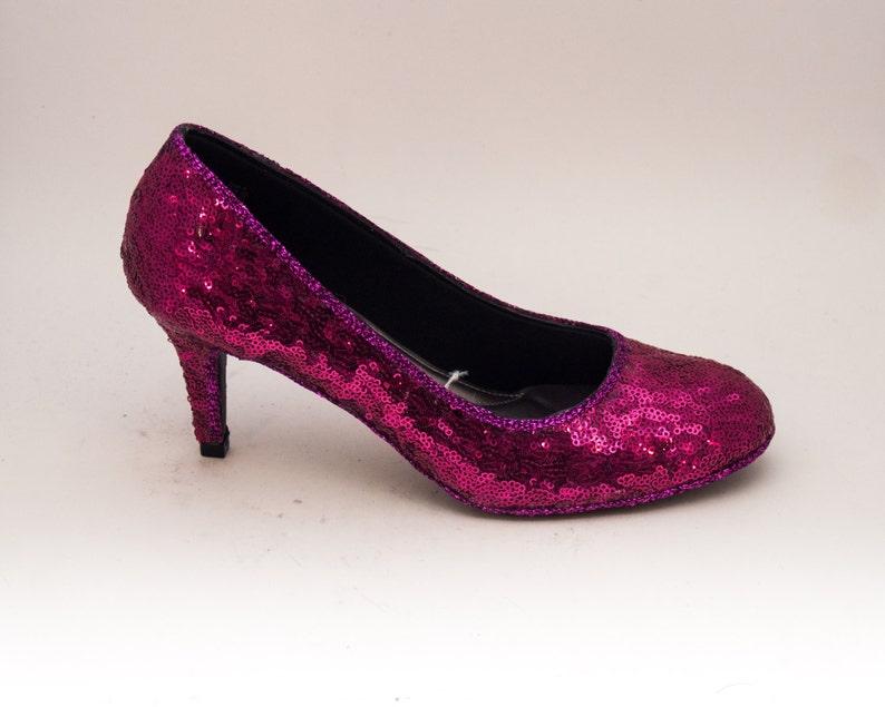 dc40dfe74e Tiny Sequin Starlight Hot Fuchsia Pink 3 Inch High Heels | Etsy