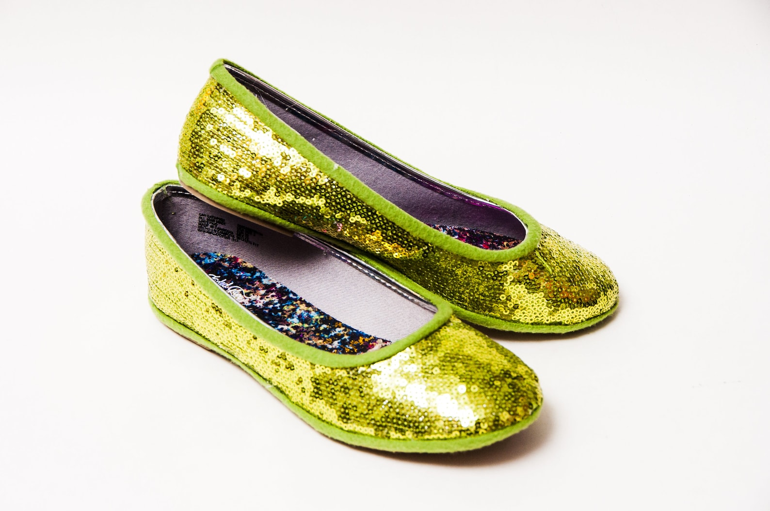 tiny sequin - lime green ballet flats dress shoes for your little girl