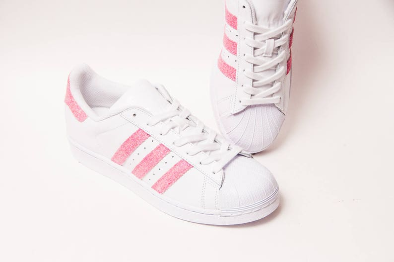 super cute dab05 b014b Glitter - Bubblegum Pink Adidas Superstars II Fashion Sneakers Shoes