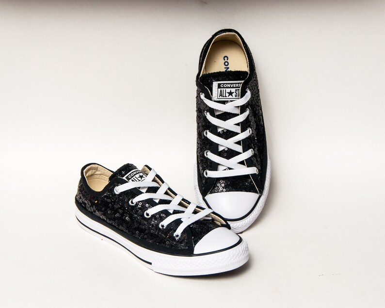 67c3667a6593 Youth Tiny Sequin Starlight Black Converse® Canvas Low